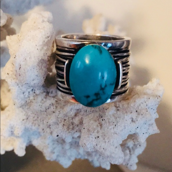 Premier Designs Jewelry   Antiqued Silver Plated Faux Turquoise Ring ...